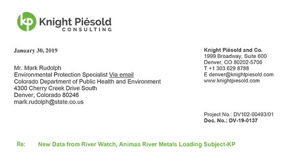 New Data from River Watch, Animas River Metals Loading Subject-KP